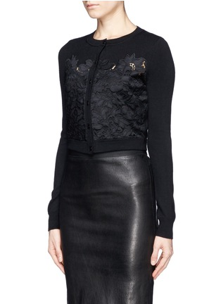 Front View - Click To Enlarge - DIANE VON FURSTENBERG - Floral lace crop cardigan