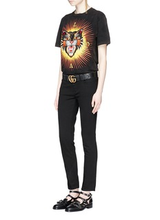 Gucci 'Angry Cat' appliqué oversized washed T-shirt