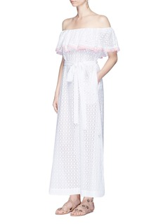 Lisa Marie Fernandez 'Mira' ricrac off-shoulder belted eyelet dress