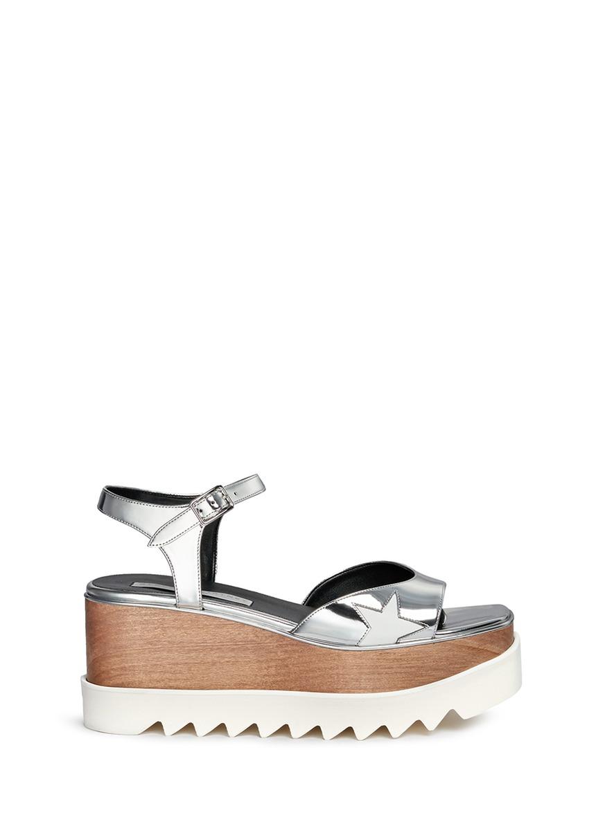 Elyse star appliqué wood platform mirror sandals by Stella McCartney
