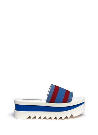 Main View - Click To Enlarge - Stella McCartney - Stripe band slide platform sandals