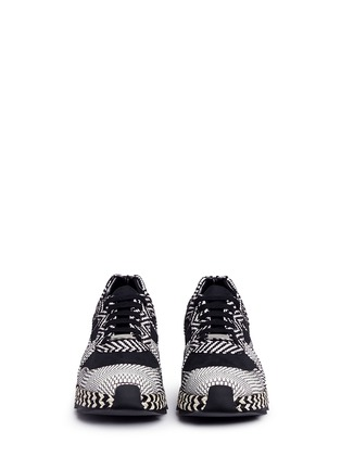 Front View - Click To Enlarge - Stella McCartney - 'Macy' star patch mixed stripe sneakers