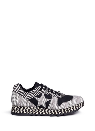 Main View - Click To Enlarge - Stella McCartney - 'Macy' star patch mixed stripe sneakers