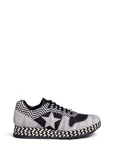Stella McCartney 'Macy' star patch mixed stripe sneakers
