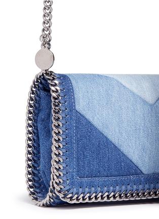 - Stella McCartney - 'Falabella' chevron stripe eco denim chain crossbody bag
