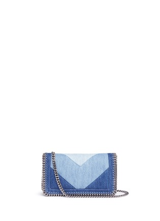 Main View - Click To Enlarge - Stella McCartney - 'Falabella' chevron stripe eco denim chain crossbody bag