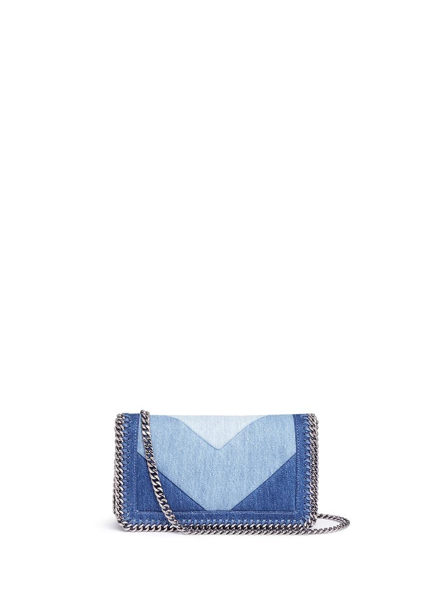 Falabella chevron stripe eco denim chain crossbody bag by Stella McCartney