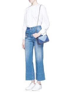 Stella McCartney'Falabella' chevron stripe eco denim chain crossbody bag