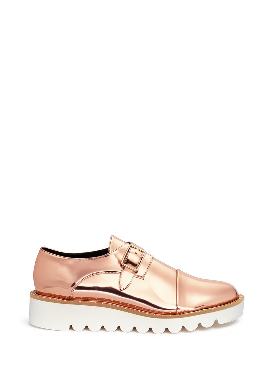 Odette mirror eco leather monk strap shoes by Stella McCartney