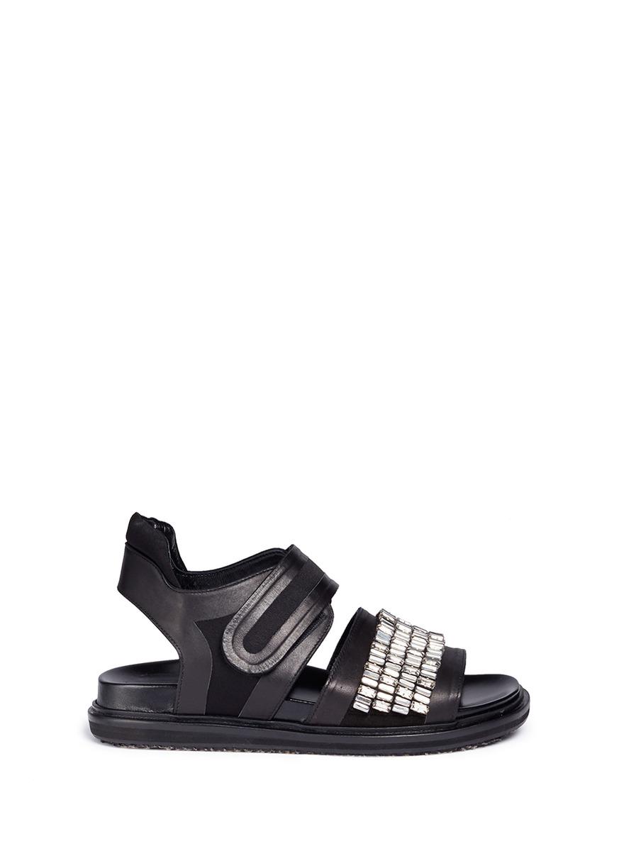 Fussbett embellished crepe satin trim leather sandals by Marni
