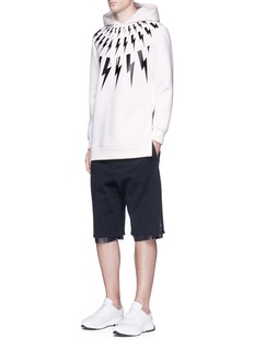 Neil BarrettThunderbolt print neoprene hoodie