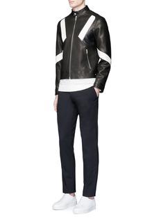 Neil Barrett'Retro Modernist' panel leather racer jacket