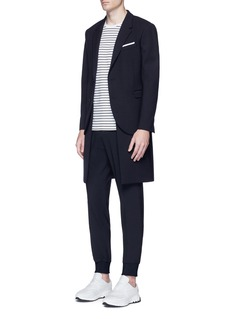 Neil Barrett Hem underlay wool blend coat