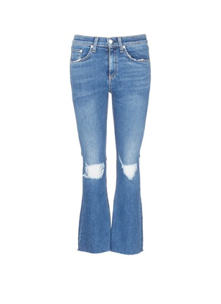 Main View - Click To Enlarge - rag & bone/JEAN - Distressed knee cropped flared jeans