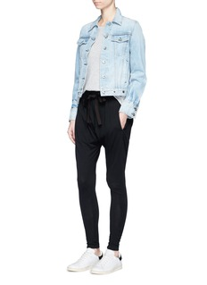 rag & bone/JEAN Eyelet distressed cotton denim jacket