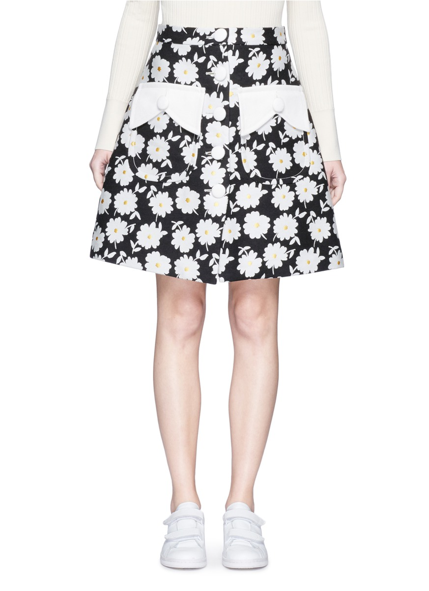 Button front floral jacquard skirt by Chictopia