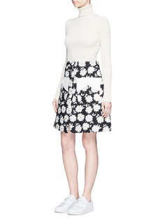Chictopia Button front floral jacquard skirt