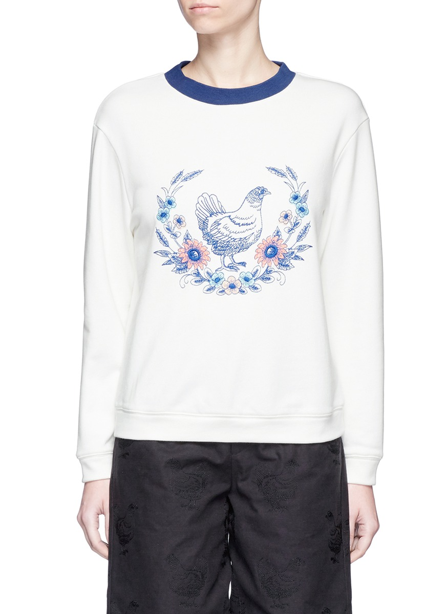 Hen and floral embroidered sweatshirt by Chictopia