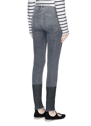Back View - Click To Enlarge - Frame Denim - 'Le Skinny de Jeanne' two-tone frayed cuff jeans
