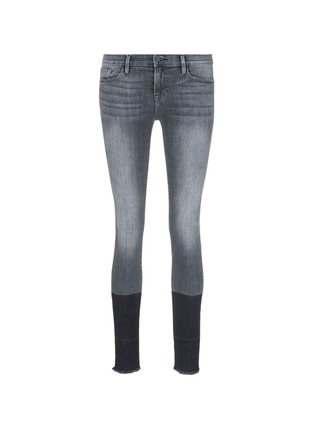 Main View - Click To Enlarge - Frame Denim - 'Le Skinny de Jeanne' two-tone frayed cuff jeans