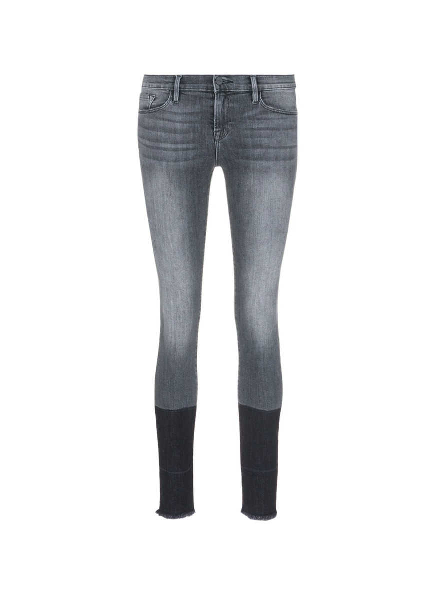 Le Skinny de Jeanne two-tone frayed cuff jeans by Frame Denim