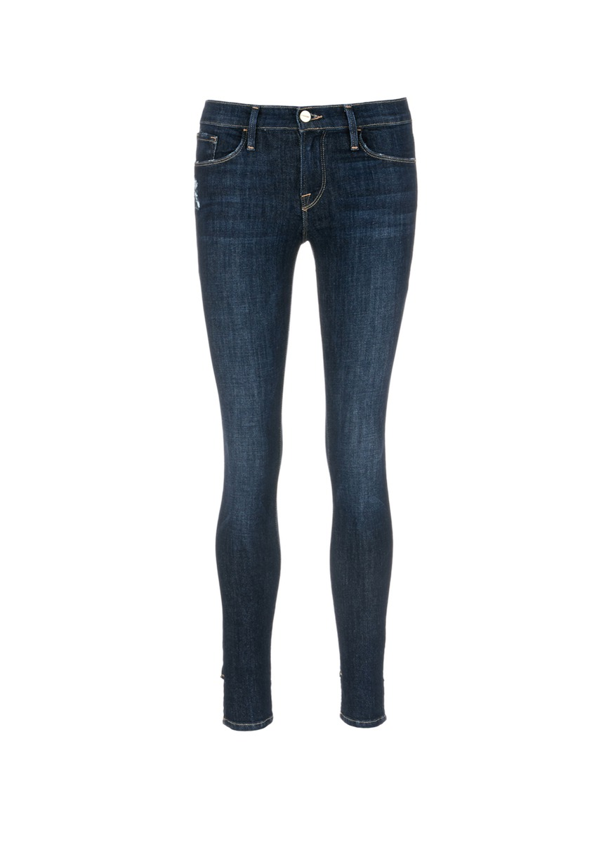 Le Skinny de Jeanne reverse staggered cuff jeans by Frame Denim