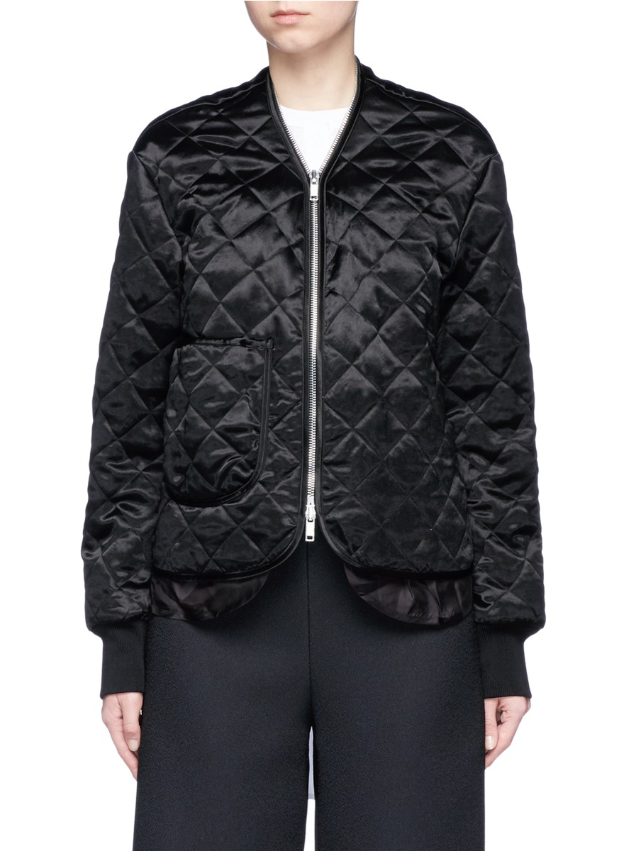 Quilted satin bomber jacket by Ms MIN