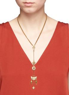 Chloé'Layton' talisman charm pendant brass necklace