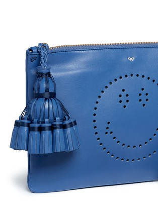 Detail View - Click To Enlarge - Anya Hindmarch - 'Smiley Georgiana' perforated leather tassel clutch