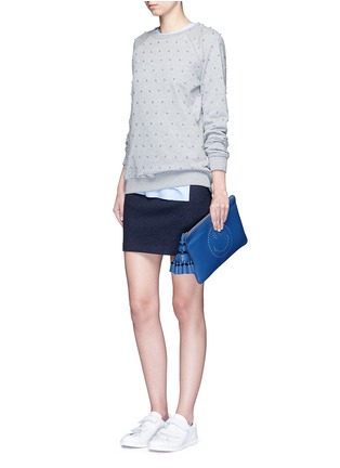 Figure View - Click To Enlarge - Anya Hindmarch - 'Smiley Georgiana' perforated leather tassel clutch