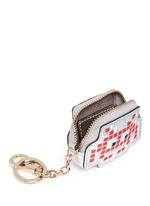'Space Invaders' embossed metallic leather coin pouch