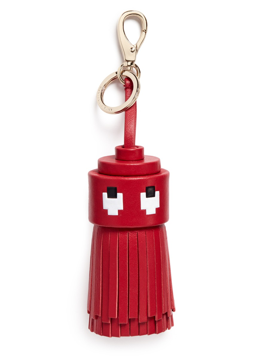 Ghost character tassel leather keyring by Anya Hindmarch