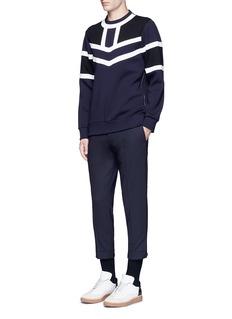 Neil BarrettTricolour panelled side zip sweatshirt