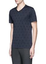 Thunderbolt embroidery V-neck T-shirt