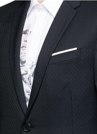 Detail View - Click To Enlarge - Neil Barrett - Slim fit diamond jacquard chalk stripe wool suit
