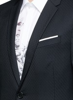 Slim fit diamond jacquard chalk stripe wool suit