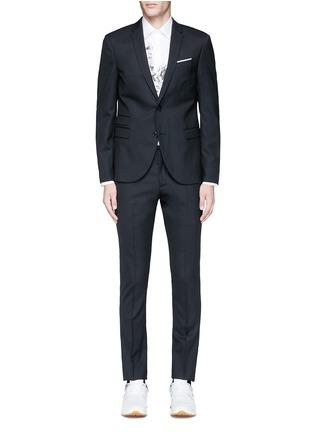 Main View - Click To Enlarge - Neil Barrett - Slim fit diamond jacquard chalk stripe wool suit