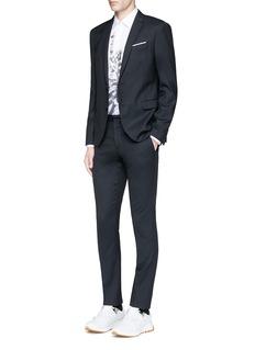 Neil BarrettSlim fit diamond jacquard chalk stripe wool suit