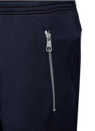 Detail View - Click To Enlarge - Neil Barrett - Faux leather panel bonded jersey biker jogging pants