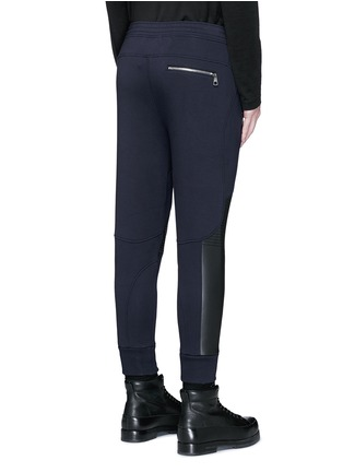 Back View - Click To Enlarge - Neil Barrett - Faux leather panel bonded jersey biker jogging pants