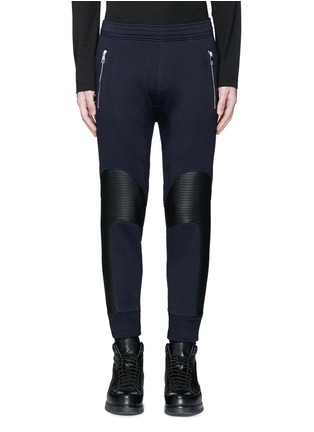 Main View - Click To Enlarge - Neil Barrett - Faux leather panel bonded jersey biker jogging pants
