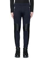 Faux leather panel bonded jersey biker jogging pants