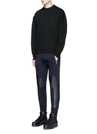 Figure View - Click To Enlarge - Neil Barrett - Faux leather panel bonded jersey biker jogging pants