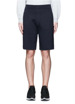 Main View - Click To Enlarge - Neil Barrett - Thunderbolt embroidery bonded jersey shorts