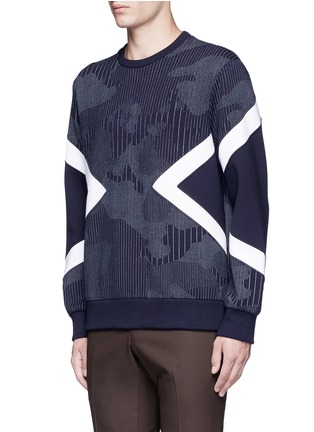 Front View - Click To Enlarge - Neil Barrett - Camouflage pinstripe panelled sweatshirt