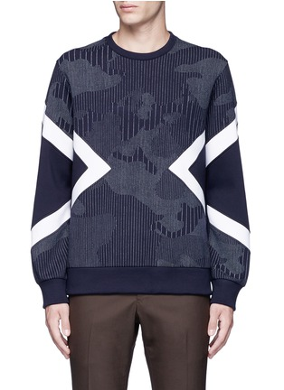 Main View - Click To Enlarge - Neil Barrett - Camouflage pinstripe panelled sweatshirt