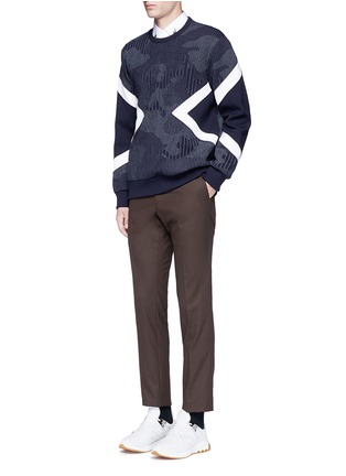 Figure View - Click To Enlarge - Neil Barrett - Camouflage pinstripe panelled sweatshirt