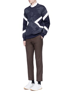 Neil BarrettCamouflage pinstripe panelled sweatshirt
