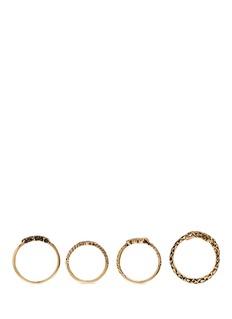 SAINT LAURENT'Trésor' brass four ring set