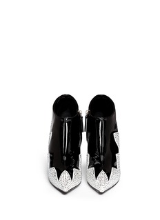 GIUSEPPE ZANOTTI DESIGN 'Yvette' strass zigzag suede panel patent leather booties